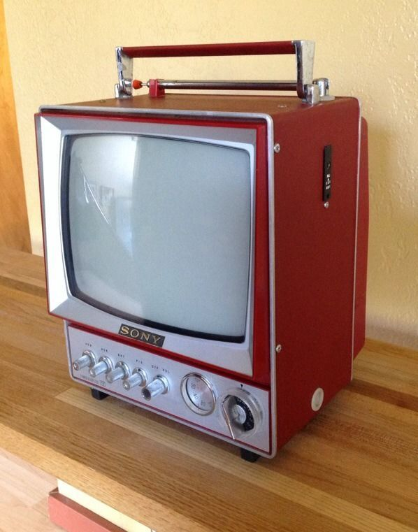 sony tv radio. vintage rare red/burgundy portable transistor sony television 9 304 uw #sony tv radio r