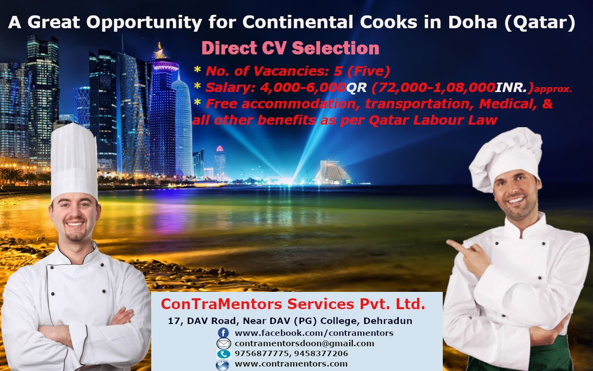 Hotel Jobs Available For Cooks In Qatar Doha No Interview