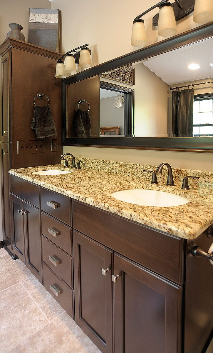 Delightful Mullet Cabinet   Dark Brown Master Vanity Featuring Side By Side Undermount  Sinks.