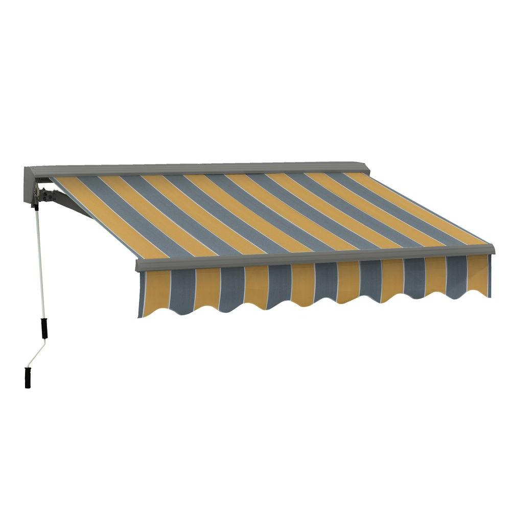 Advaning 12 Ft Classic C Series Semi Cassette Manual Retractable Patio Awning 118 In Projection In Yellow Gray Stripes Ma1210 A225h The Home Depot Patio Awning Retractable Awning Retractable Pergola