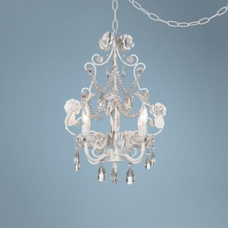 White floral with crystal accents plug in swag chandelier style white floral with crystal accents plug in swag chandelier aloadofball Gallery