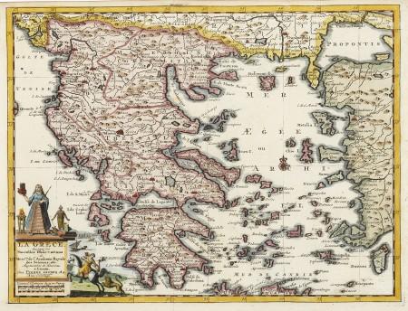 La Grece Suivant Les Nouvelles Observations Des Messieurs De L Academie Royale Des Sciences Antique Print Map Room Greece Map Artwork Botanical Illustration