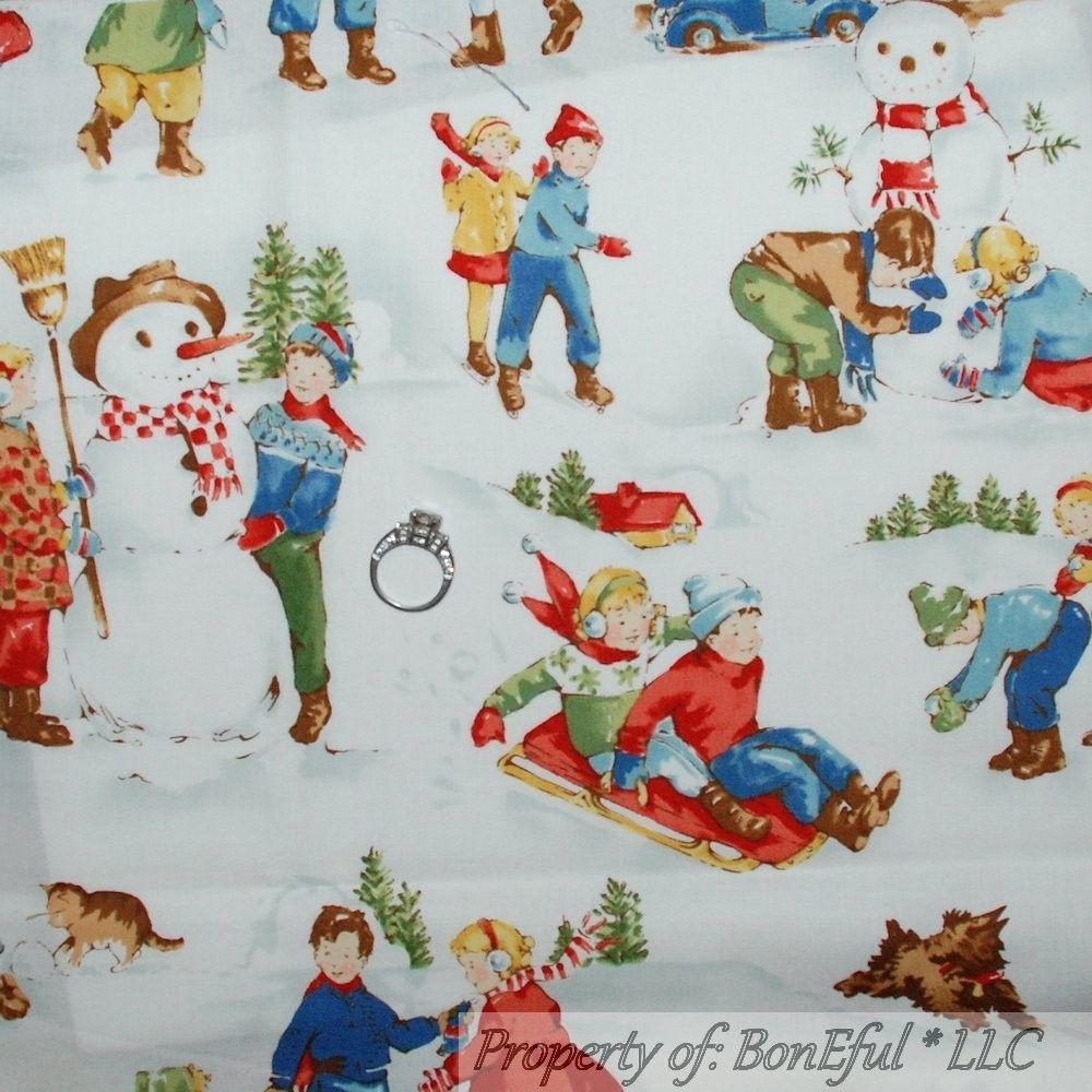 BonEful Fabric FQ Cotton VTG Quilt Blue White Tree Xmas Snow*Man Flake Sm Scenic #AlexanderHenry