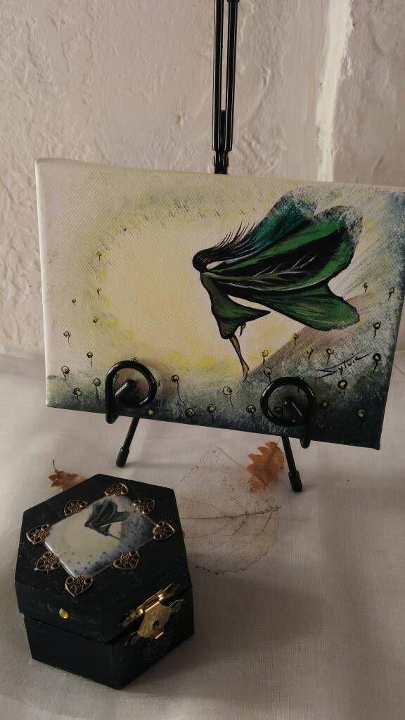 L\u0027ensemble pour offrir à Noël, petite toile sur chevalet avec son
