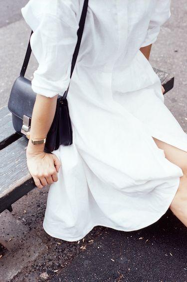 Datura Blog - Member Style Edit #1 Nane Feist wearing our White Linen Long Shirt Dress