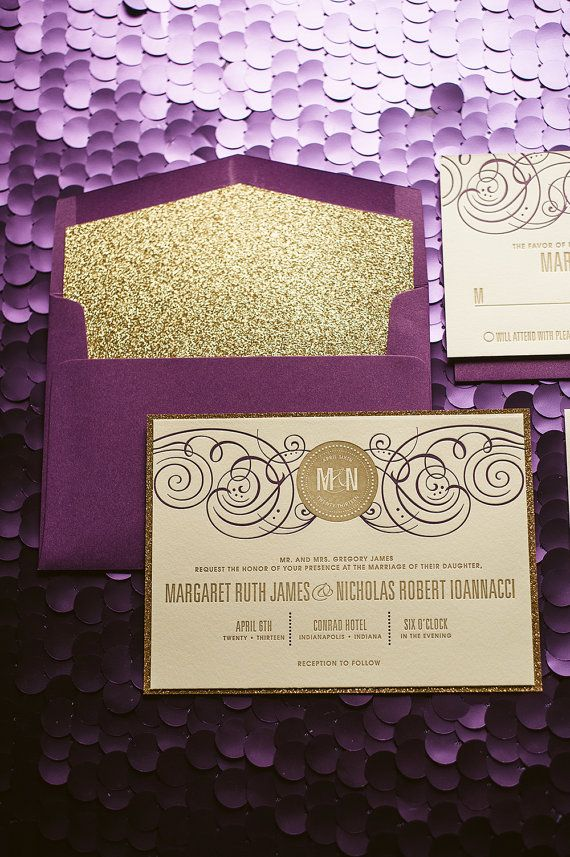 Purple gold wedding invitation gold glitter wedding invite purple gold wedding invitation gold glitter wedding invite purple invitation monogram junglespirit Image collections