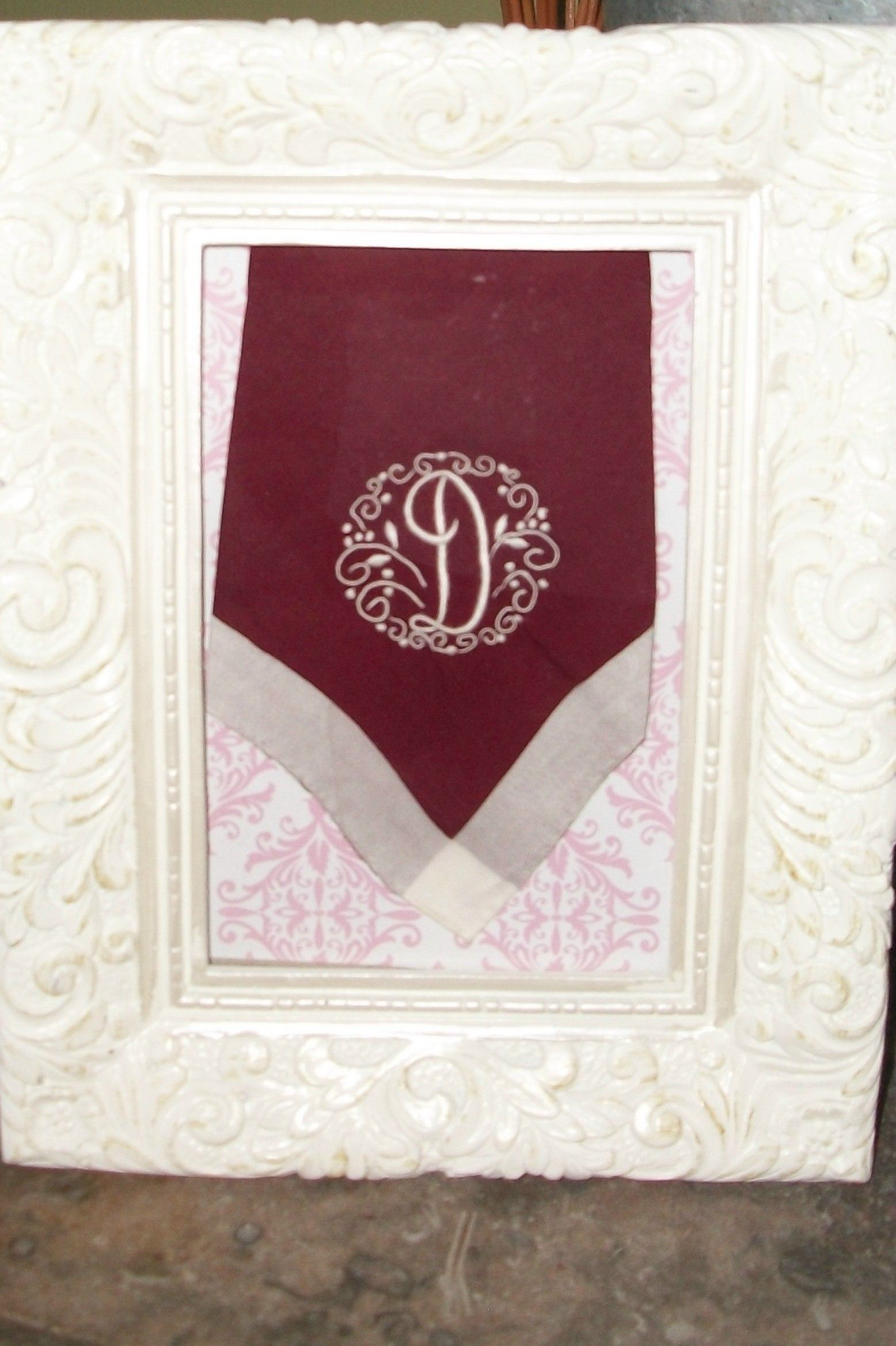 framed old linen hand embroidered hankie... a treasure.