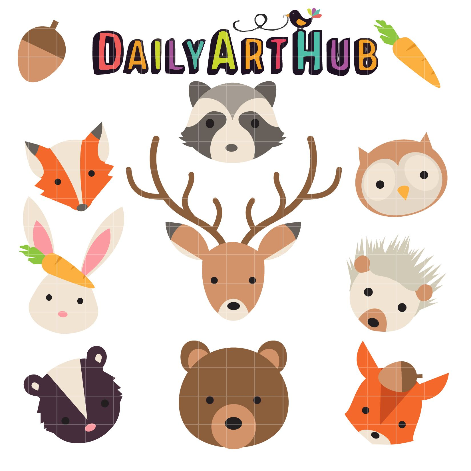 Forest Head Animals Clip Art Set Art hub, Clip art