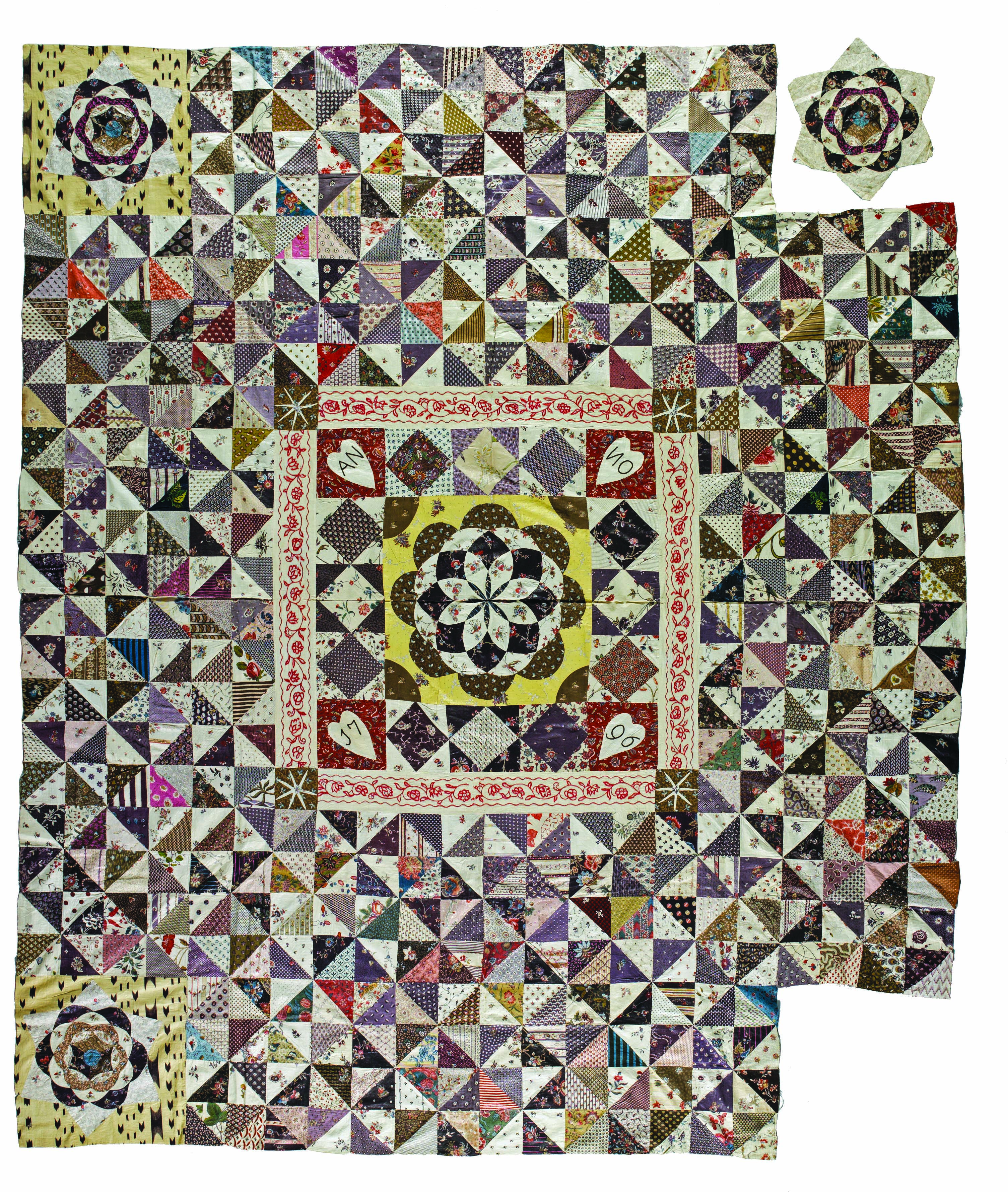 Patchwork Coverlet, Not Finished, , 1796, North Of Amsterdam, Material  Handpainted Indian