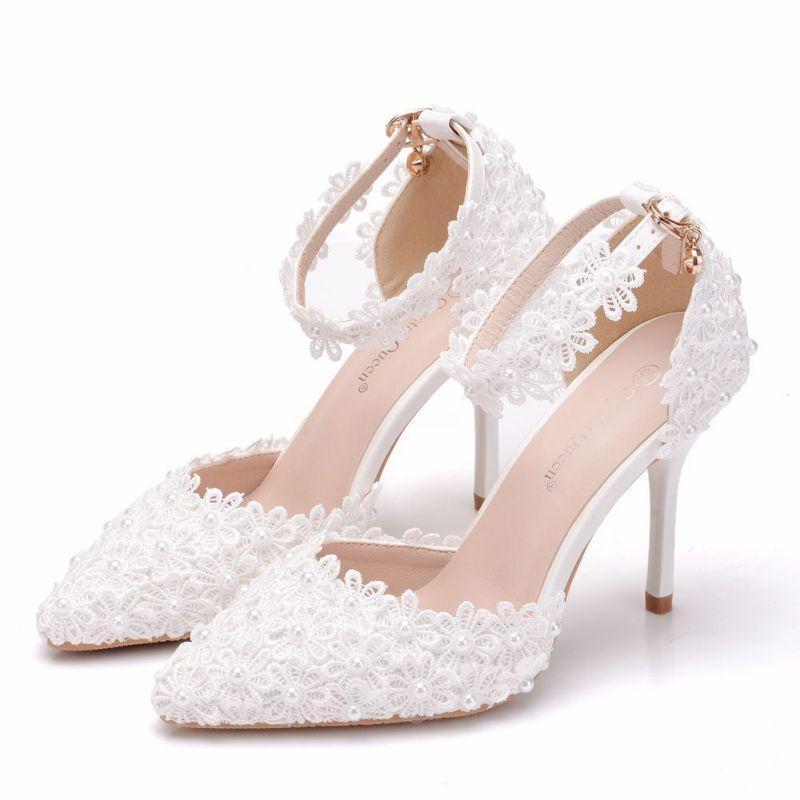 Piekne Czarne Buty Slubne 2018 Perla Z Koronki Z Paskiem 9 Cm Szpilki Szpiczaste Slub Wysokie Obcasy Lace High Heels Wedding High Heels Black Wedding Shoes