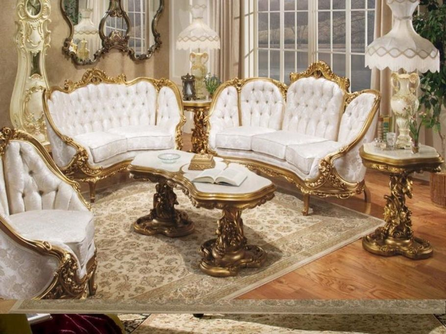 Amazing Home Living Room Design With White Fabric Sofa Set Combined Golden Car Victorian Living Room Furniture Victorian Home Decor Victorian Living Room Decor