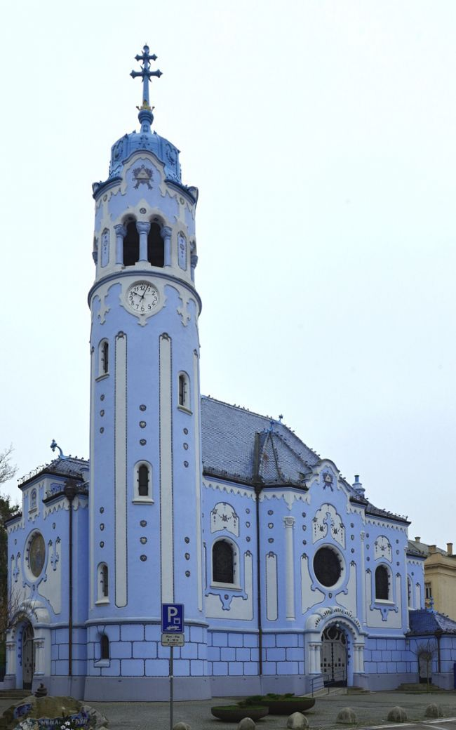 St. Elizabeth Church, also known as the Blue Church, Bratislava, Slovak Republic. Hungarian Secessionist style. Built 1907-1908. Designed by Ödön Lechner. Dedicated to St. Elisabeth.