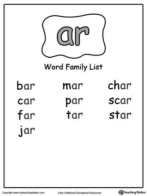 AR Word Family List | Peg's things | Pinterest | Word families, Word ...