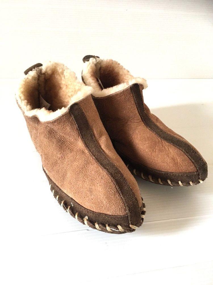20c5a2967c4 CABELA'S WOMEN'S Size 6 WOOL SHEARLING SLIPPERS Tan Sheepskin Shoes ...