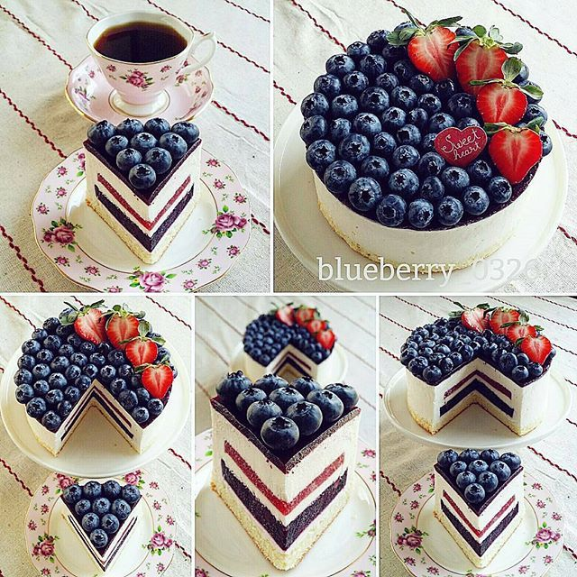 WEBSTA @ cupcakeproject - I'm not usually a fan of Instagram collages, but, wow, I love this! Which is your favorite shot?Repost from @blueberry_0326 -  Blueberry Mousse Cake~ (Feat.Strawberry jelly)~❤~ #blueberry #mousse #instacake #cake #homebaked #dessertstagram #ilovebaking #dessert #fruitcake #homebaking #lovetobake #baking #dessertlover #bake #sweettooth #bakery #instadessert #cakeporn #foodpics #homemadecake #bakingday #lovebaking #dessertporn #instabake #cakestagram #desser...