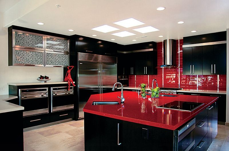 Red Black And White Interiors Living Rooms Kitchens Bedrooms Black Kitchen Decor Red Kitchen Decor Black And Red Kitchen