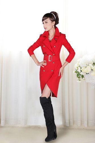 Retro Military Style Red Women Trench Jacket Coats | eBay