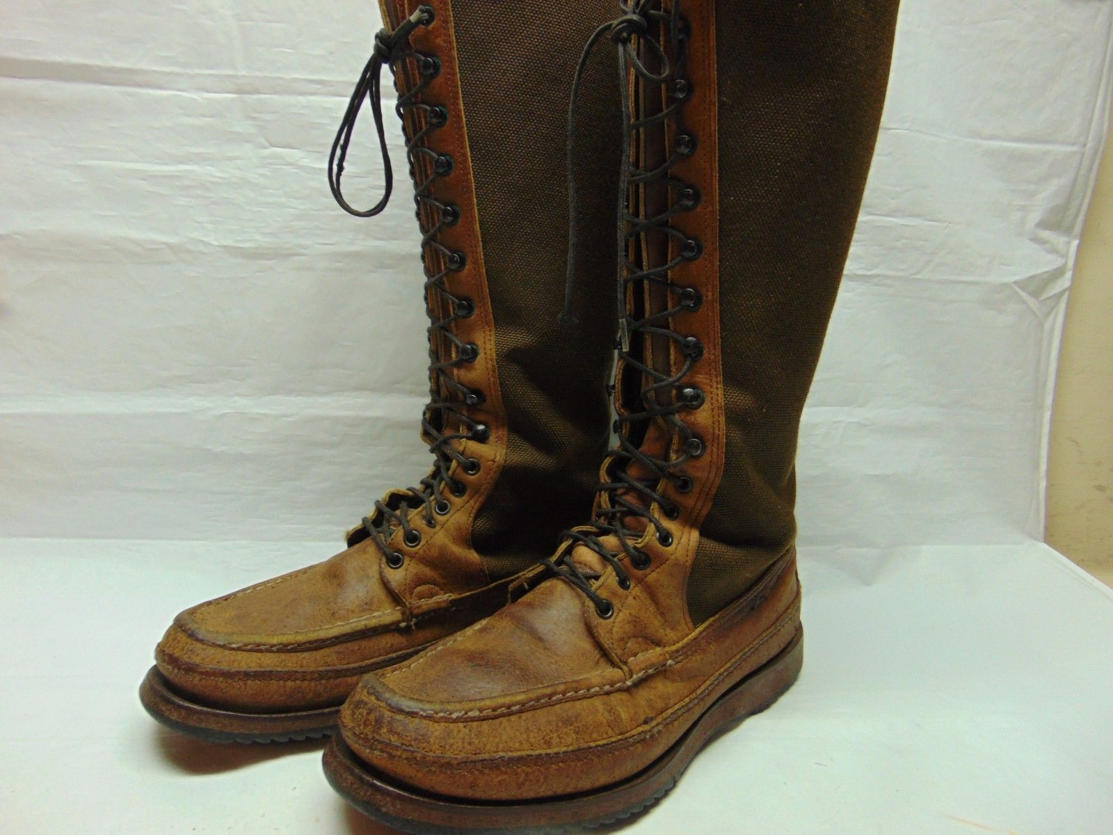19444e1f1b2 Russell Moccasin Turkey Hunter w/ Turtleskin Lace Up Knee High Moc ...