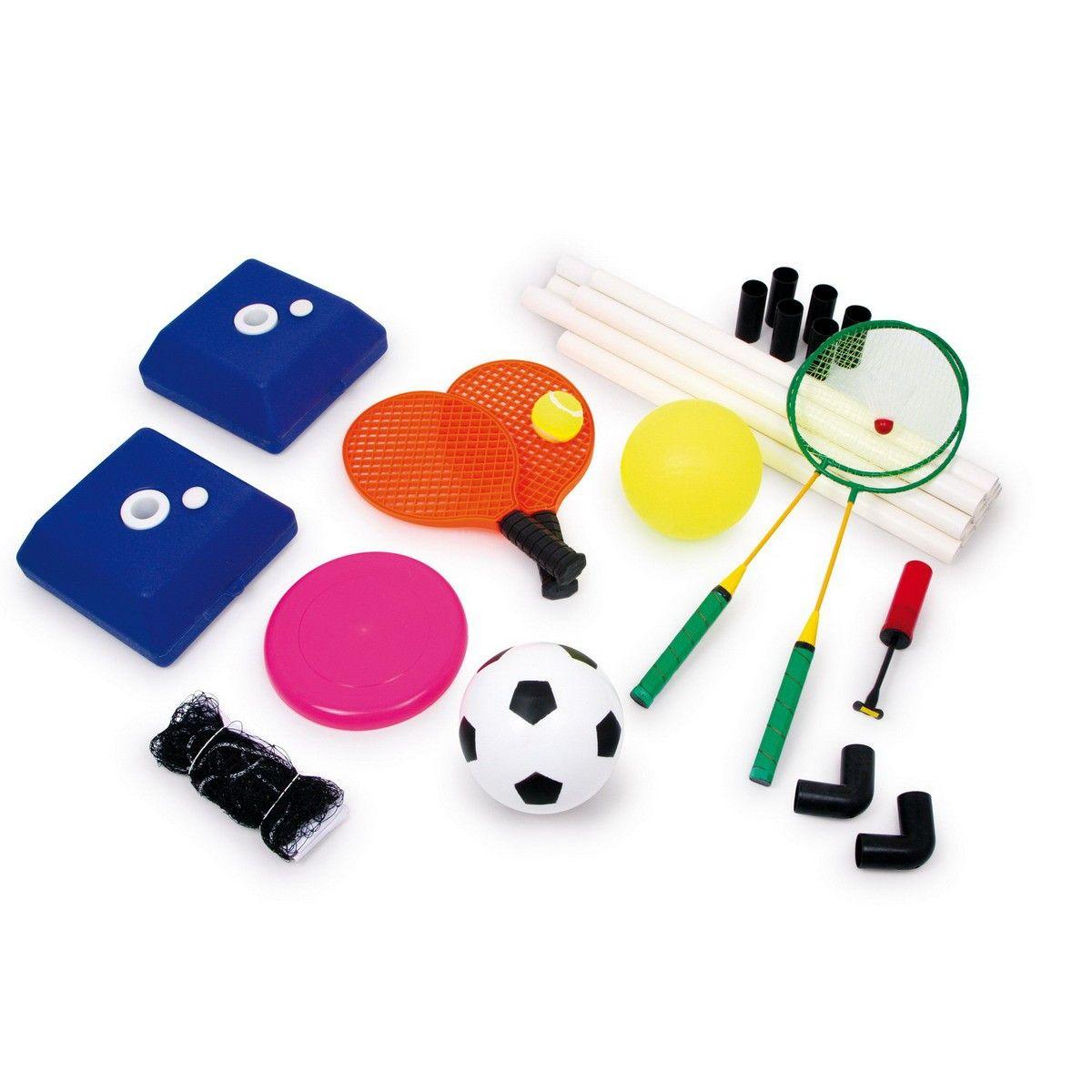 mit dem multisportset 5 in 1 kann man volleyball frisbee tennis federball und fu ball spielen. Black Bedroom Furniture Sets. Home Design Ideas