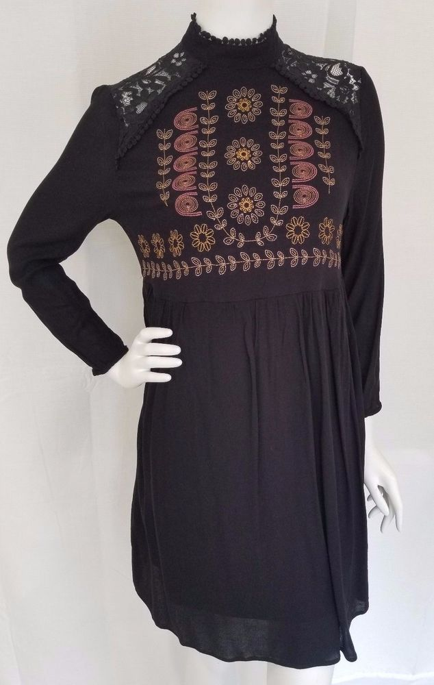 f1de6517 XHILARATION Target Black Embroidered Rayon Long Sleeve Dress Lace Shoulders  LG #Xhilaration #TunicDress