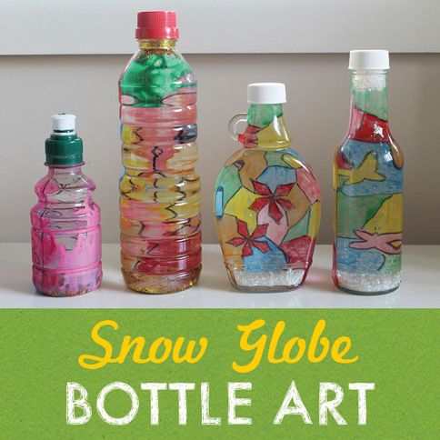 Snow globe bottle art i absolutely love this technique for Crafts from waste plastic bottles