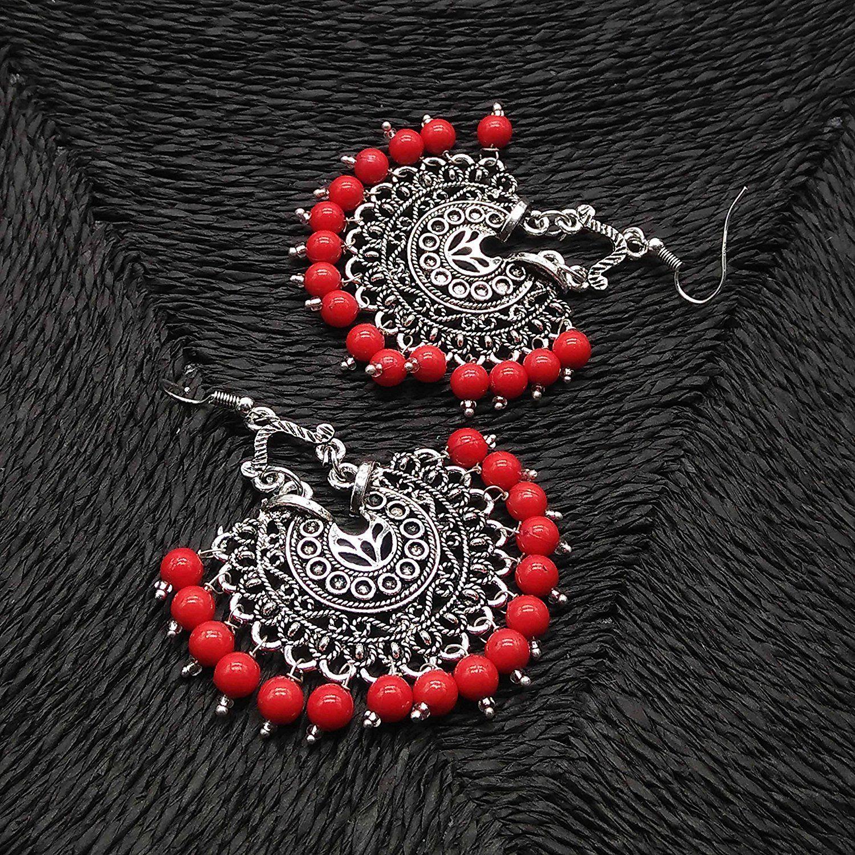 3de159028 iKraft Stunning Afghani Earrings Oxidized Silver Plated with Red Beads  Chandbali Earrings Ethnic Tribal Navratri Diwali Wedding Party Wear Special  Oxidised ...