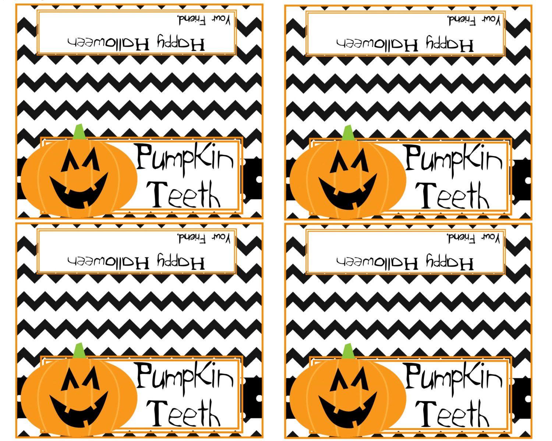 Pumpkin Teeth Printable Halloween Treat Bag Toppers 4 5 X