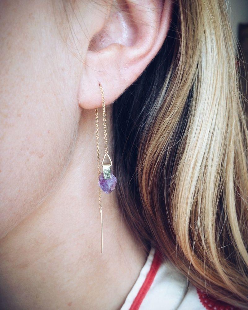 Piercing above top lip  amethyst threader earrings rack and ruin piercings earpiercings
