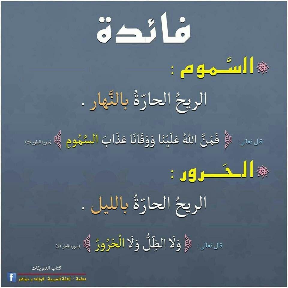 فائدة لغوية الس موم الح رور Learning Arabic Learn Arabic Language Words