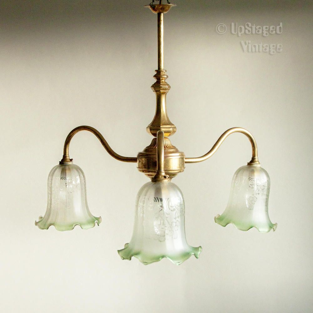 vintage christopher wray brass 3 arm light fitting chandelier with