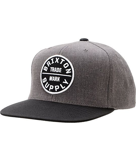 6c3591c4d6f47 Swear to continue your fresh looks with the Brixton Oath III charcoal grey  and black snapback