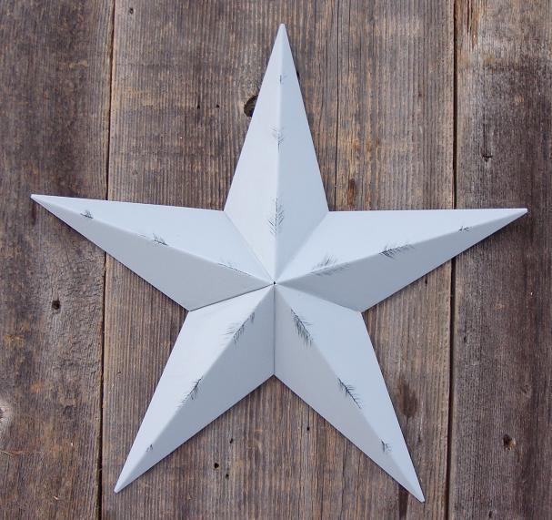 Rustic Gray Metal Tin Barn Star – Made in the USA!