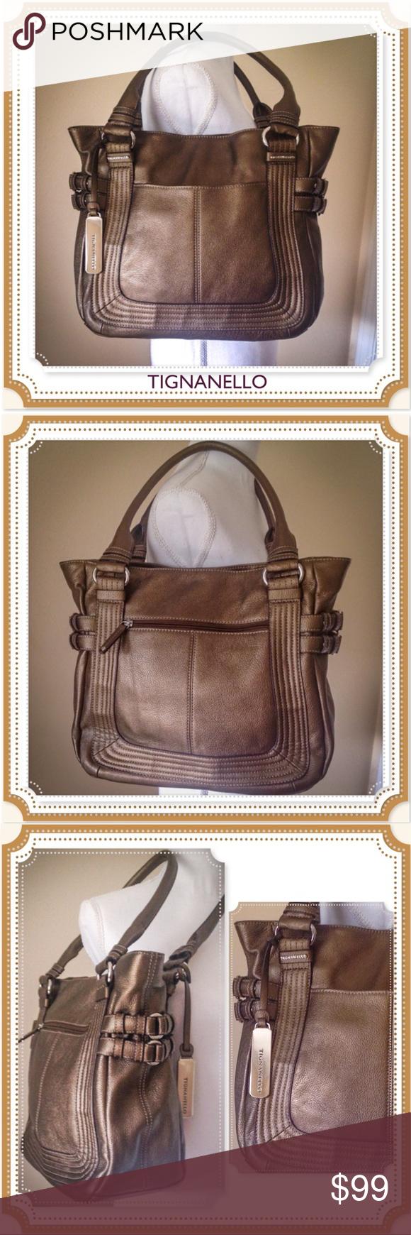 Nwot Bronze Tignanello Large Handbag Gorgeous Leather By Beautifully