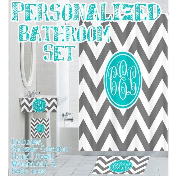 Custom Personalized Monogrammed Designer Bathroom Set Shower Curtain Hand Towel Bath Cloth And Chevron Bathroom Decor Personalized Bathroom Shower Design