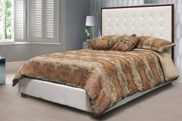 Best Master Yy02 Q Throne White Leather Like And Tufted With Cherry Wood Trim Queen Bed Set White Headboard White Bedroom Furniture Queen Upholstered Bed
