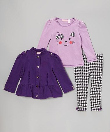 Take a look at this Plum Ruffle Jacket Set - Infant by Kids Headquarters on #zulily today!