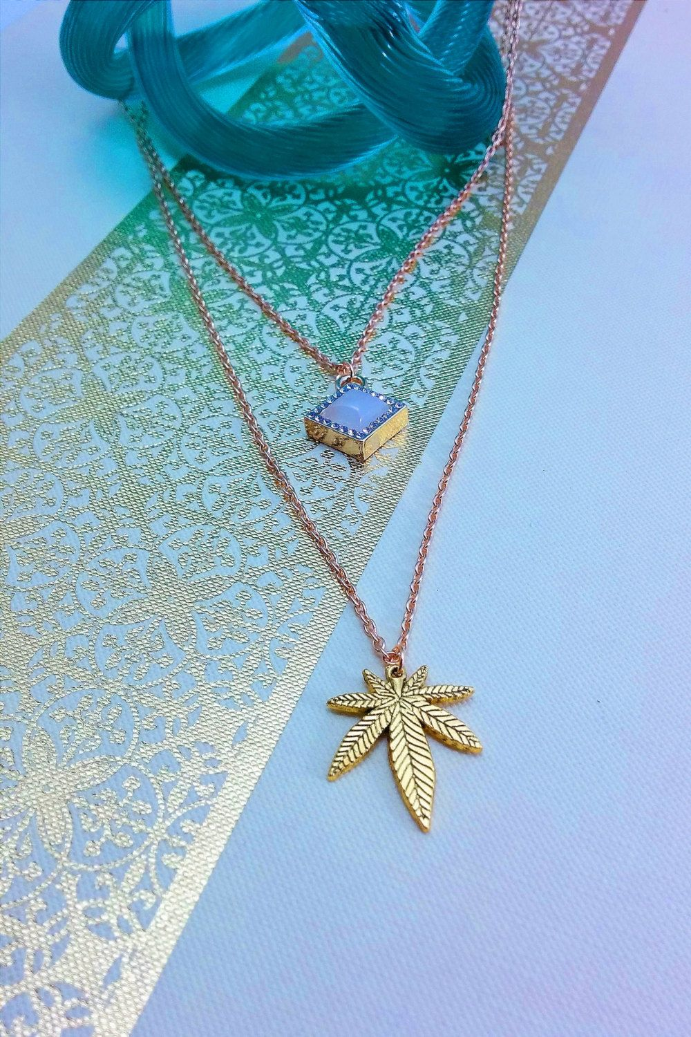 Cannabis Leaf Double Charm Necklace. by CLOTHandPISTIL on Etsy ...