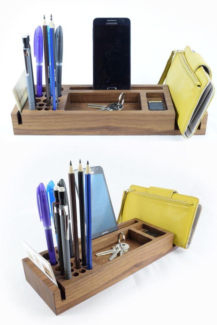 Walnut Desk Organiser By Beam Designs 35 Desk Organization Diy Wooden Desk Organizer Desk Organization