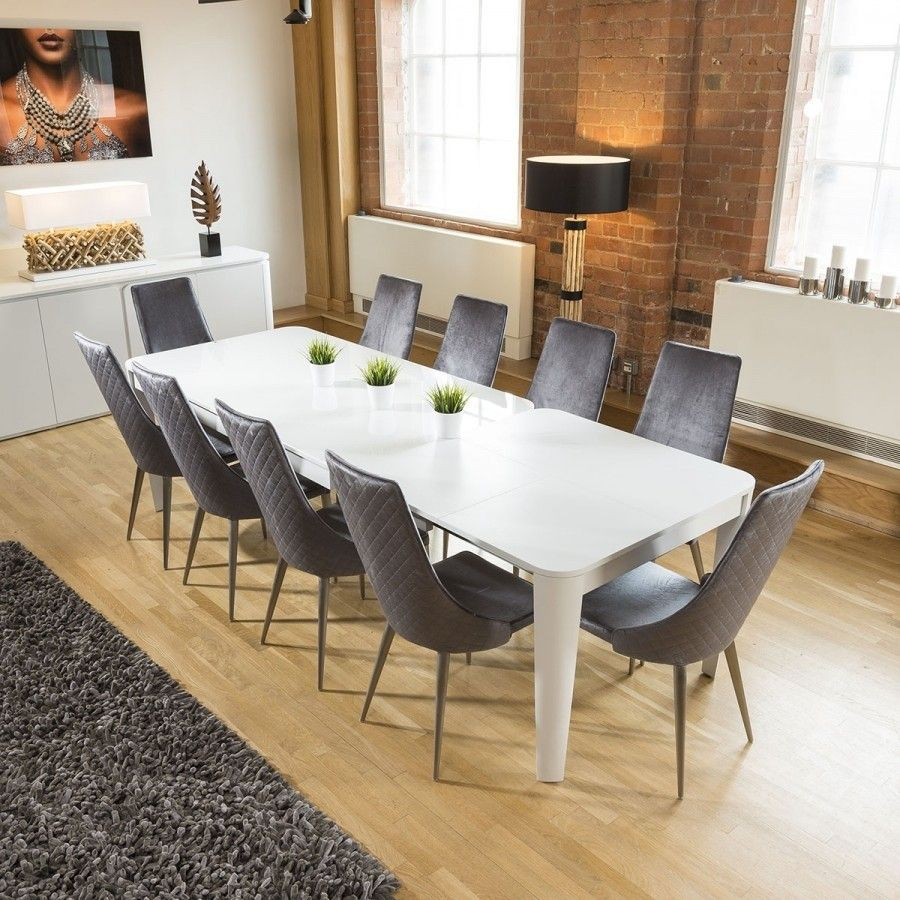 Luxury Extending Dining Set Glass Top Table 10 Tall Grey Velvet