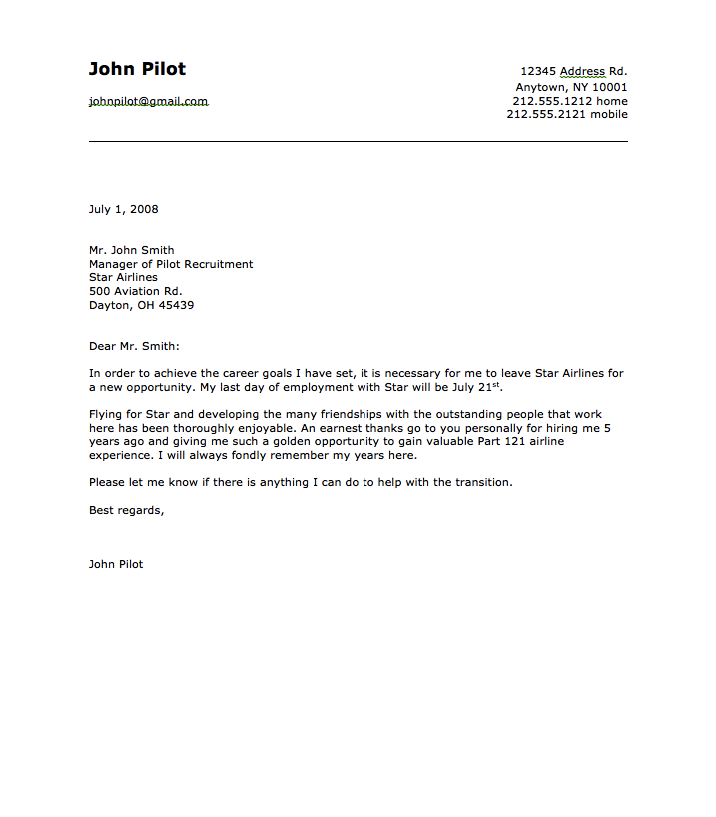 Sample Letter Of Resignation Teacher.Sample Of Airline Pilot Resignation Letter