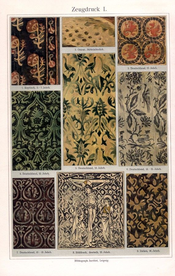 Antique Print Examples Of Textiles Original Page From A Early 1900s German Encyclopedia