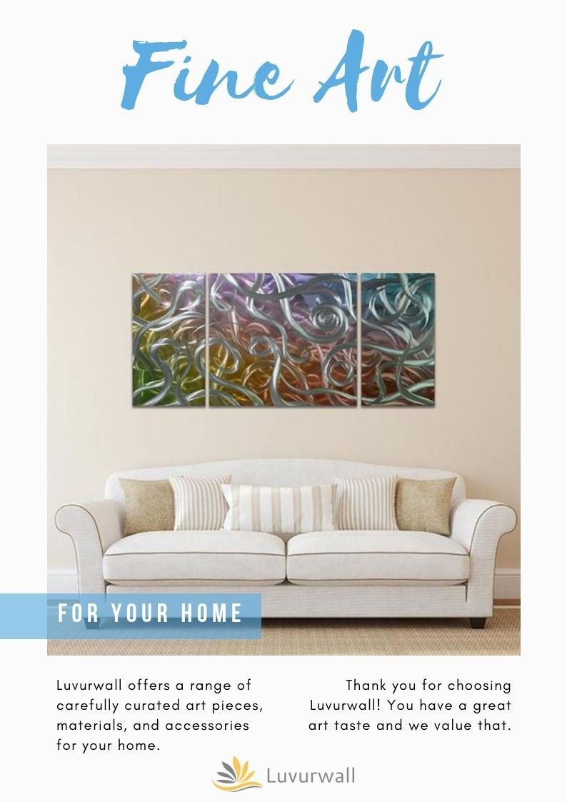 Metal Wall Art | Multi Colored Abstract Framed Art | Set ...