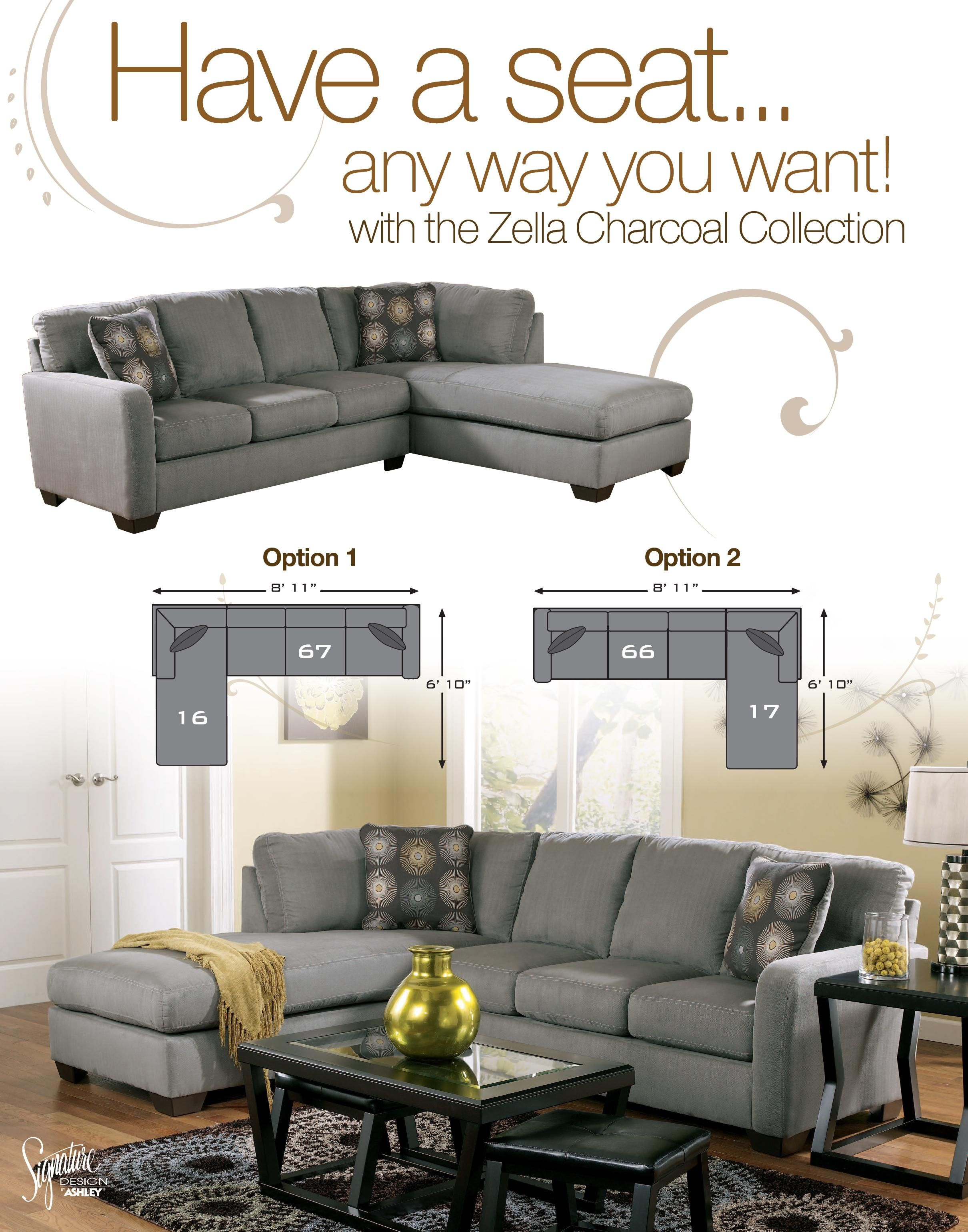 Zella - Charcoal Contemporary Sectional Sofa with Left Arm ...