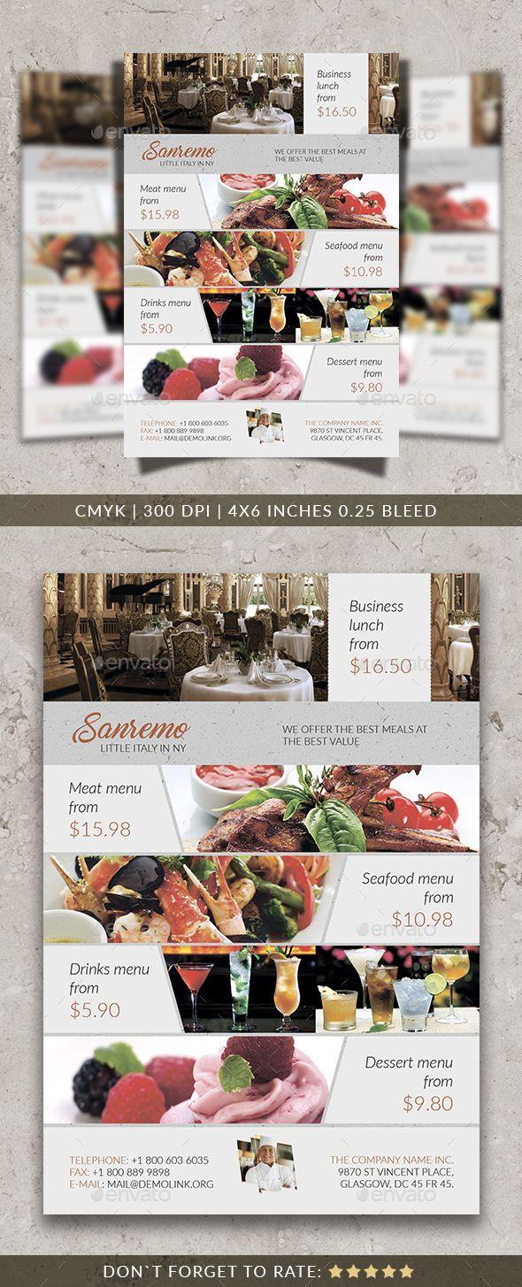Sanremo Restaurant Flyer Template  Flyer Template Restaurants
