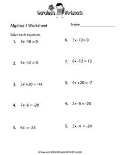 Algebra  Practice Worksheet Printable  Teacher Stuff