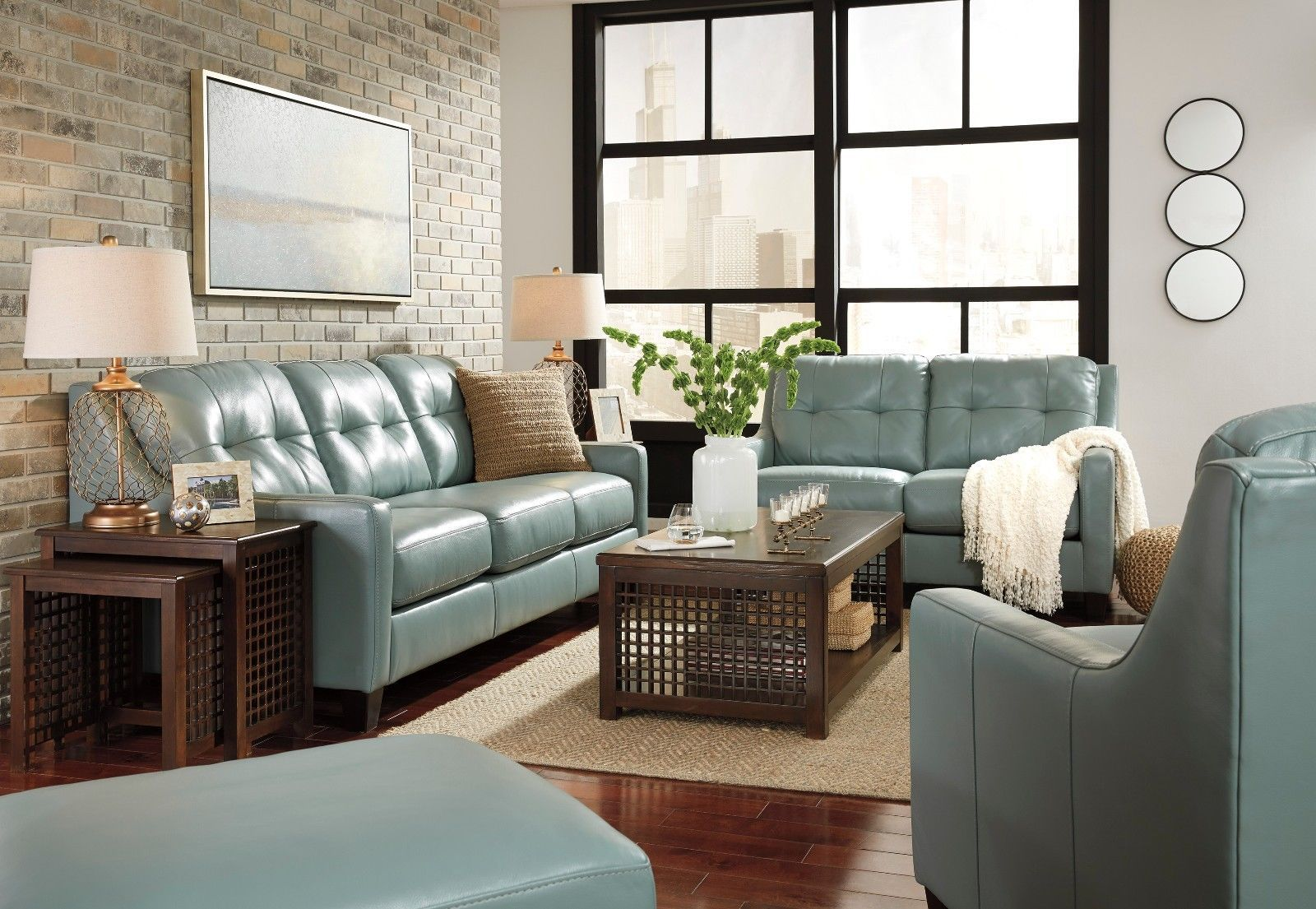Best Ashley O Kean Leather Sky Sofa And Loveseat Furniture 400 x 300