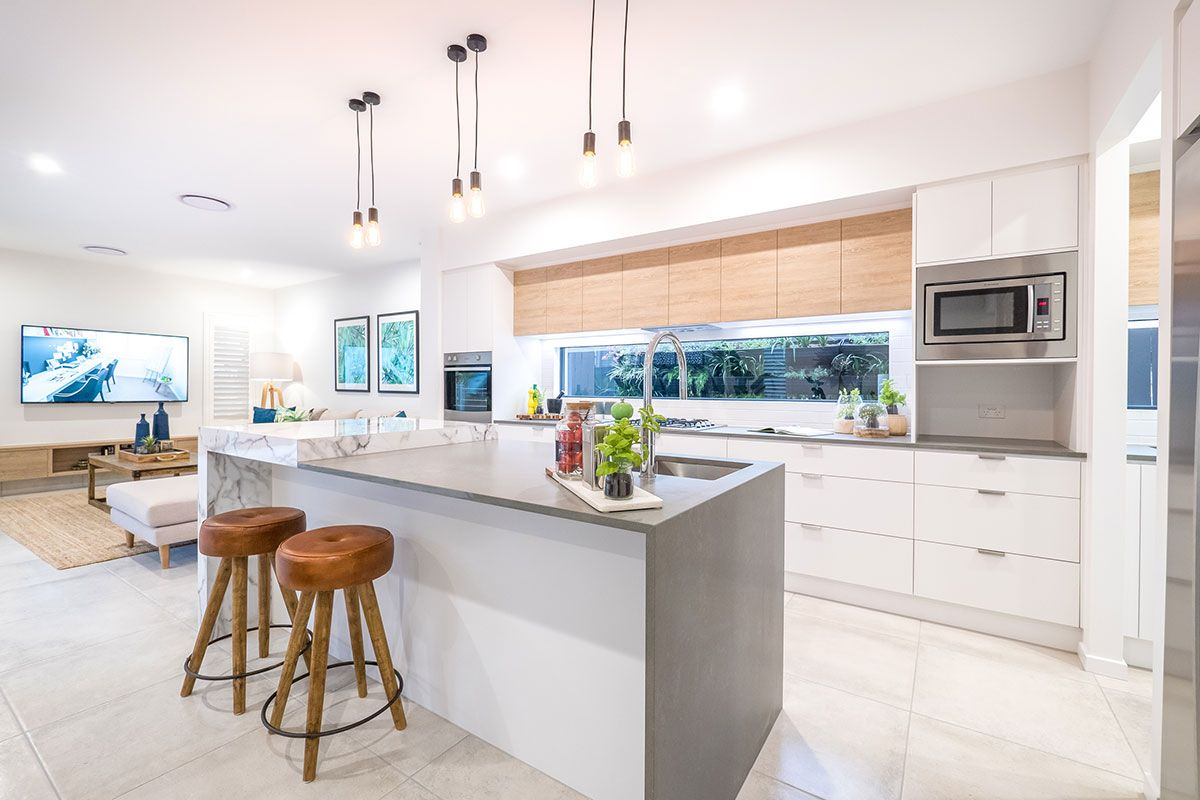 Kitchen Island Bench Marble Look Island Bench Timber Cabinetry
