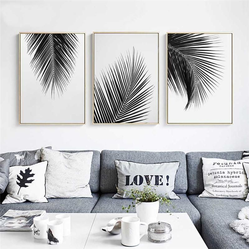 Black White Leaves Canvas Print Living Room Canvas Wall Art Living Room Wall Painting Decor