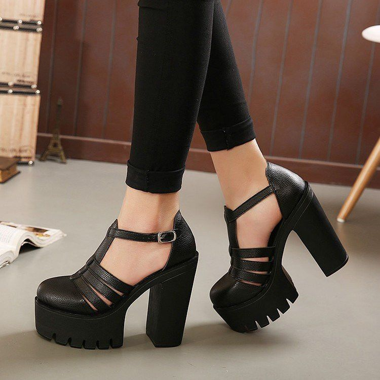 competitive price 1c348 a421b gothic sandals tacco grosso 11 e zeppa in pelle nero ...