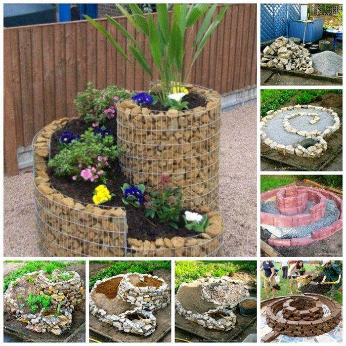 kräuterspirale stein kleine steine voller blüte prächtige - gartengestaltung beispiele kleine garten